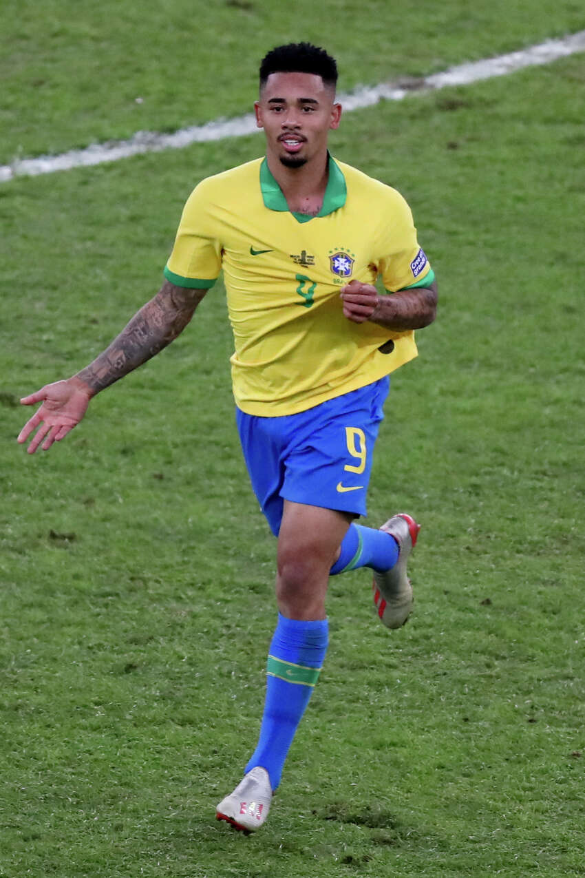 Brazil's Gabriel Jesus celebrates scoring his side's second goal against Peru during the final soccer match of the Copa America at the Maracana stadium in Rio de Janeiro, Brazil, Sunday, July 7, 2019.