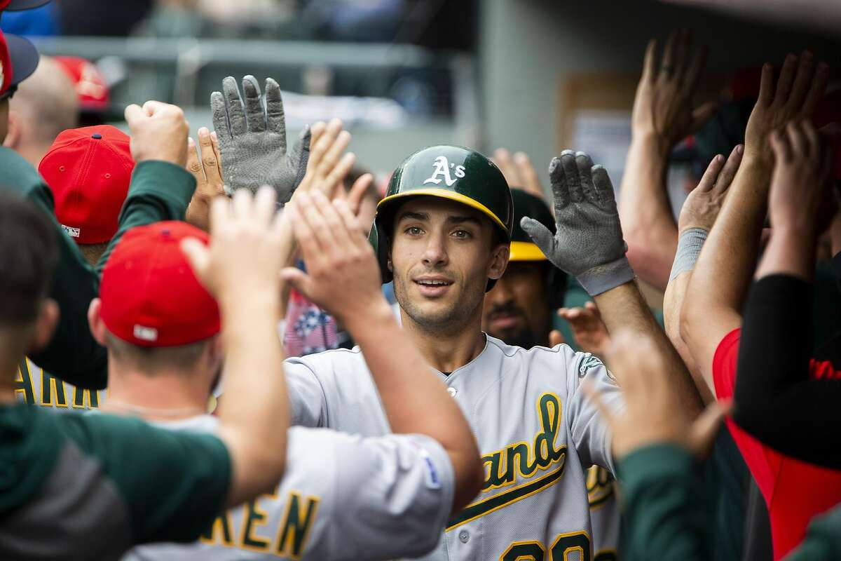 SEATTLE, WA - JULY 07: Matt Olson #28 of the Oakland Athletics is greeted in the dugout after hitting a three-run home run in the first inning against the Seattle Mariners at T-Mobile Park on July 7, 2019 in Seattle, Washington. (Photo by Lindsey Wasson/Getty Images)