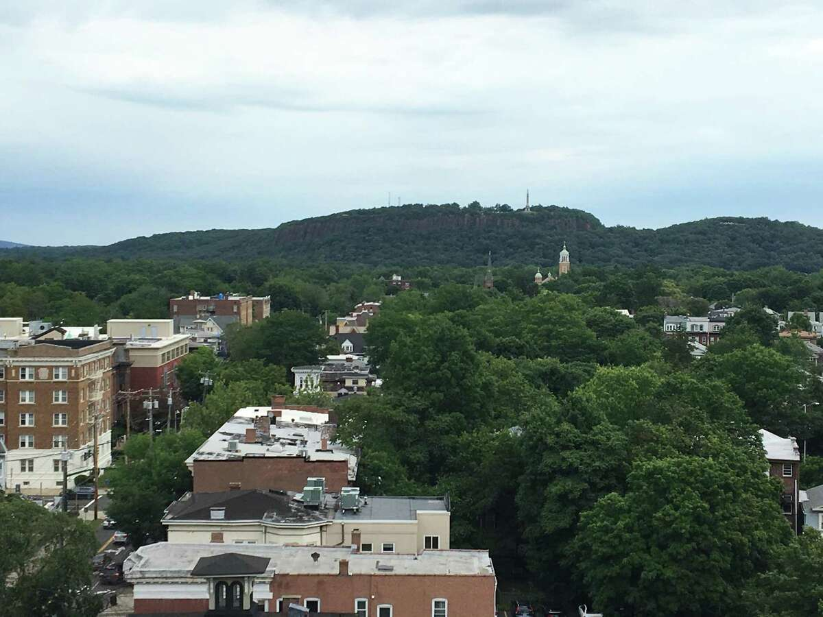View of East Rock from the top of the garage at The Audubon New Haven