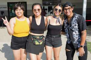 Young the Giant and Fitz & The Tantrum concertgoers pose for a photograph at White Oak Music Hall on Sunday, July 7, 2019, in Houston.