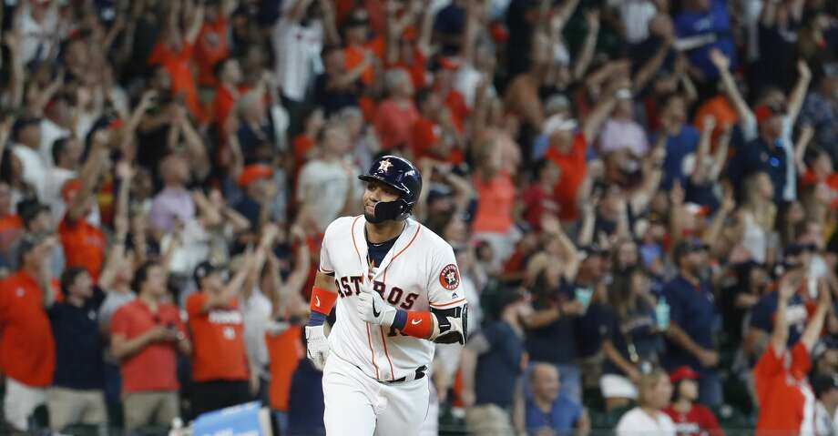 PHOTOS: Astros vs. Angels Houston Astros Yuli Gurriel (10) reacts after hitting a grand slam during the sixth inning of an MLB game at Minute Maid Park, Sunday, July 7, 2019, in Houston. Browse through the photos to see action from the Astros' 11-10 win over the Angels on Sunday. Photo: Karen Warren/Staff Photographer
