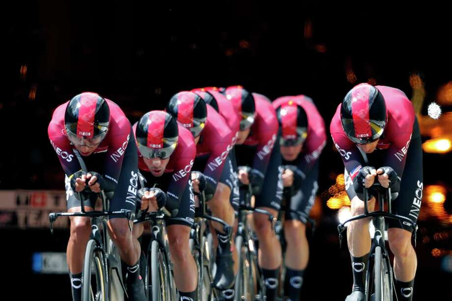 Team Ineos strains during the second stage of the Tour de France cycling race, a team time trial over 27.6 kilometers (17 miles) with start and finish in Brussels, Belgium, Sunday, July 7, 2019. (AP Photo/Thibault Camus) Photo: Thibault Camus / Copyright 2019 The Associated Press. All rights reserved
