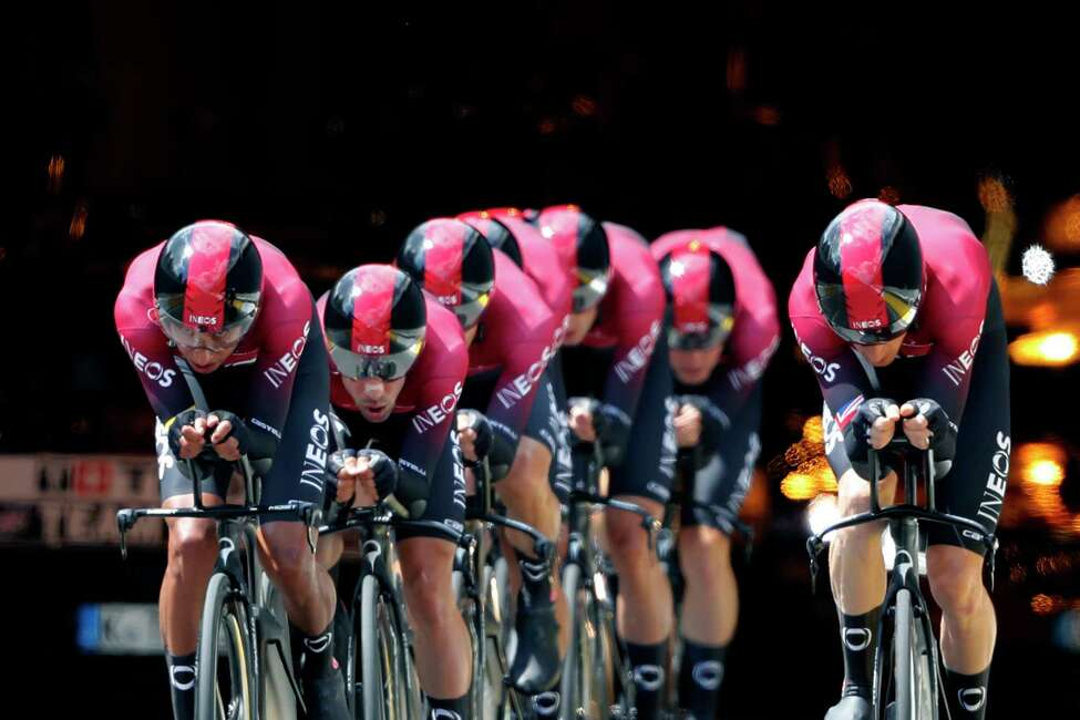 Team Ineos strains during the second stage of the Tour de France cycling race, a team time trial over 27.6 kilometers (17 miles) with start and finish in Brussels, Belgium, Sunday, July 7, 2019. (AP Photo/Thibault Camus)