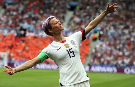 United States' Megan Rapinoe celebrates after scoring the opening goal from the penalty spot during the Women's World Cup final soccer match between US and The Netherlands at the Stade de Lyon in Decines, outside Lyon, France, Sunday, July 7, 2019. (AP Photo/Francisco Seco) Photo: Francisco Seco / Copyright 2019 The Associated Press. All rights reserved