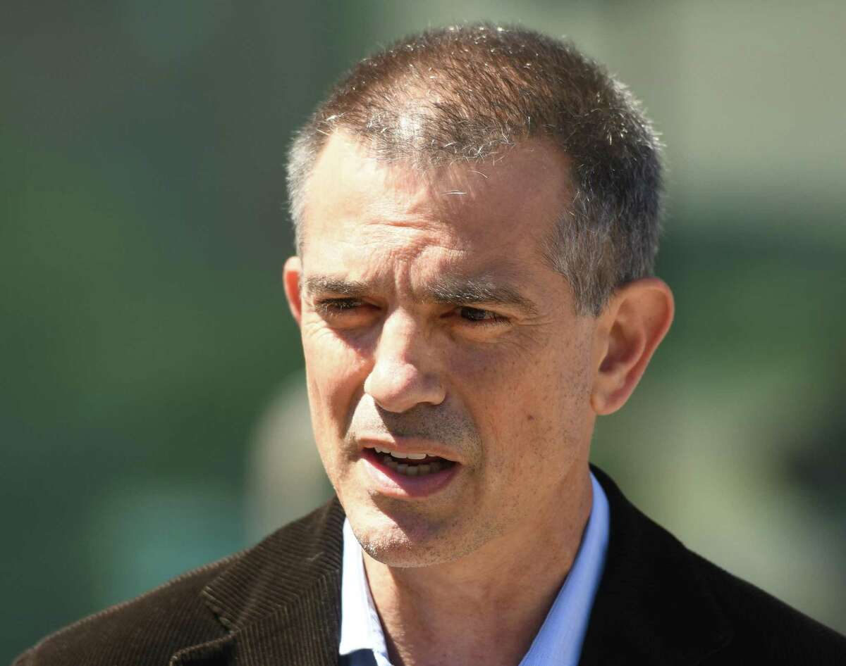 Fotis Dulos speaks after making an appearance at Superior Court in Stamford on June 26.