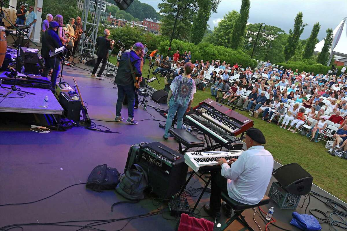 Performers on stage at The Charlie Karp Memorial Concert on Saturday, July 6, 2019, at the Levitt Pavilion in Westport, Conn.