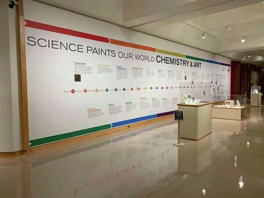 The outside wall of the Alden B. Dow Museum's Main Gallery at the Midland Center for the Arts features a timeline of milestones in art history brought about by advancements in the creation of paint and other materials through chemistry. The gallery will hold 30+ paintings in an exhibit titled 'Science Paints Our World: Chemistry & Art' until Sept. 1, 2019. (Mitchell Kukulka/Mitchell.Kukulka@mdn.net)