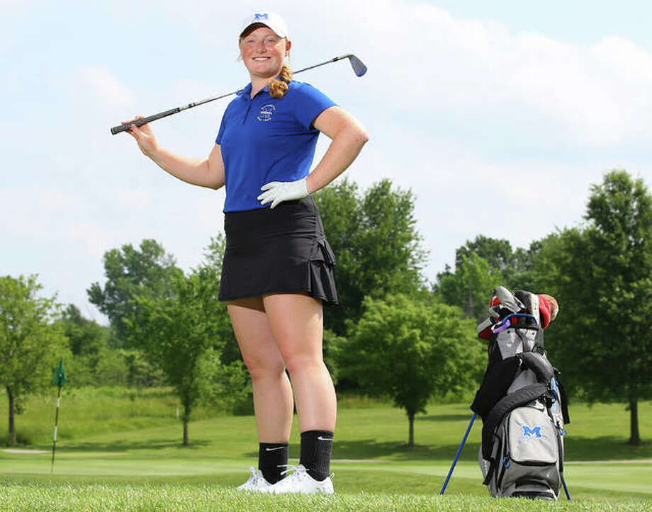 Marquette Catholic's Gracie Piar is the 2018 Telegraph Girls Golf Player of the Year after leading the Explorers to a fifth-place finish at the Class 2A state tournament in Decatur. Photo: Billy Hurst / For The Telegraph