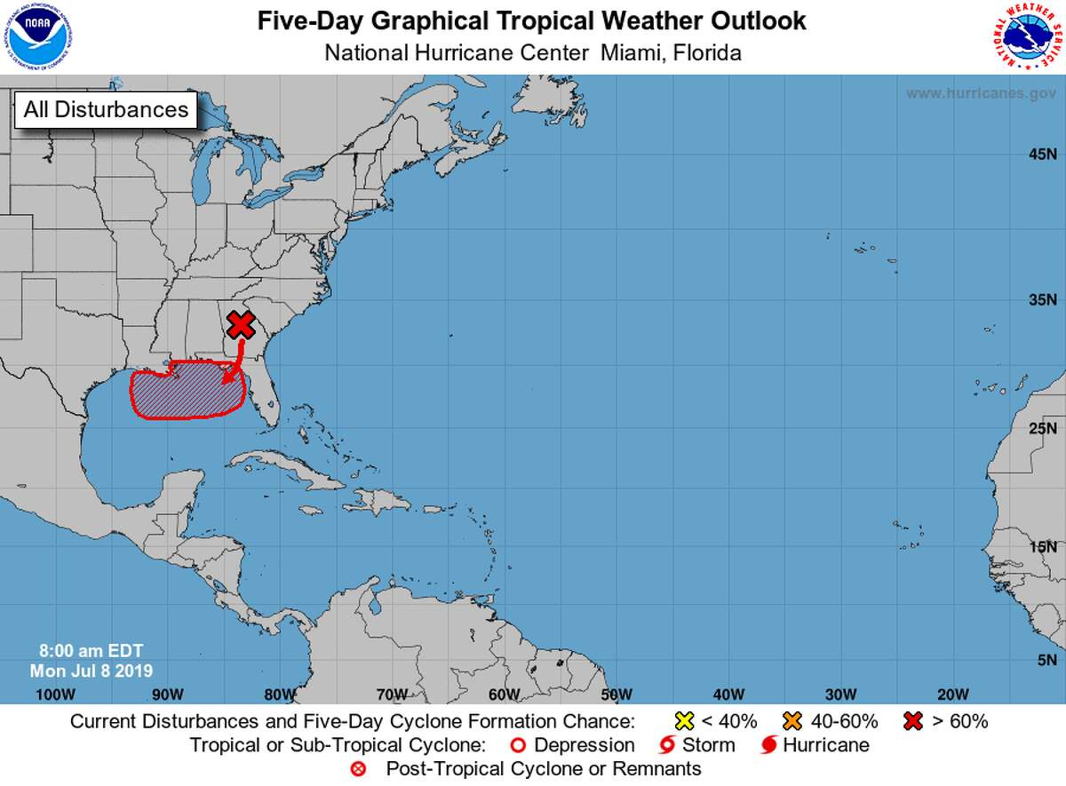 Forecasters predict an 80 percent chance of a possible tropical system in the Gulf developing into a tropical depression or a tropical storm by Friday.