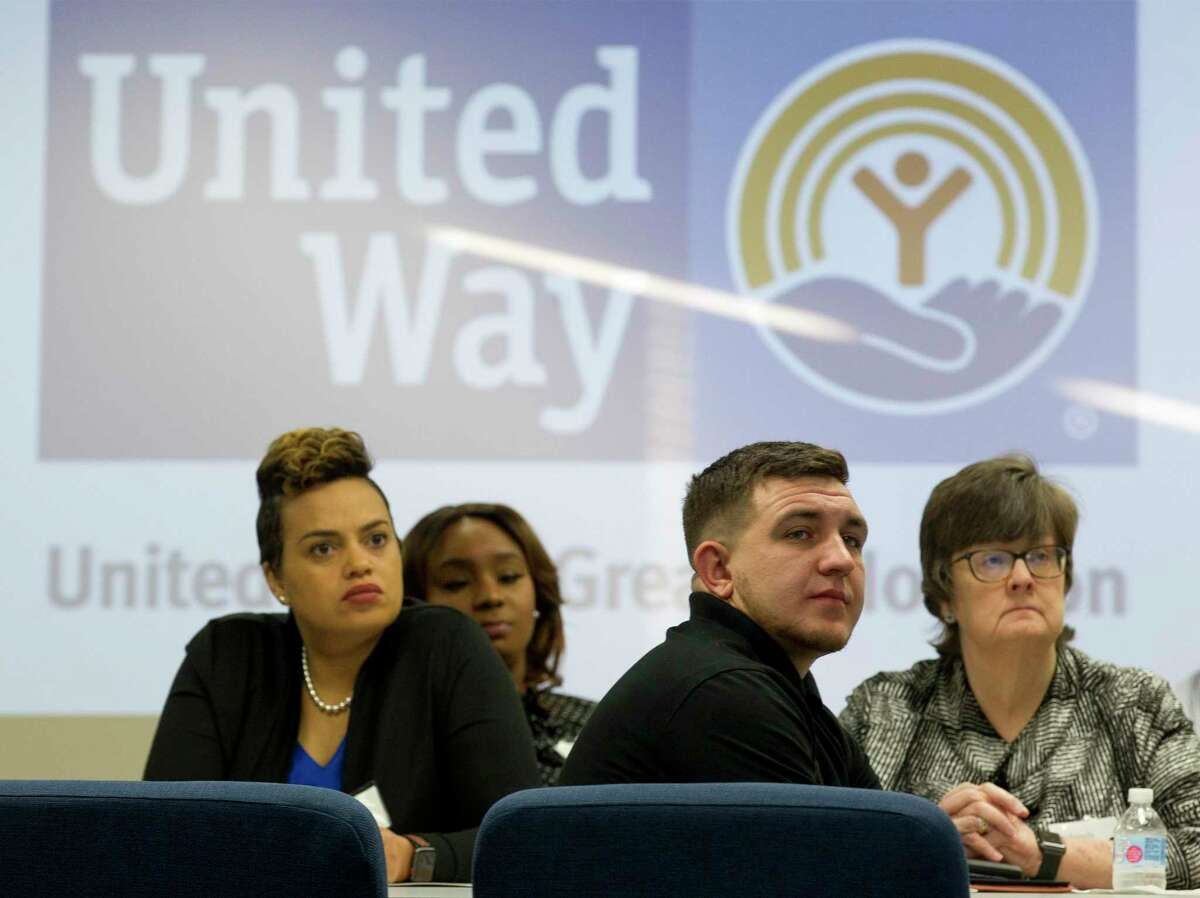 United Way of Greater Houston centers are about to be filled with thousands of pairs of socks and underwear for the community collection drive titled Project Undercover. Centers around the area are collecting socks and underwear from July 8 to Aug. 2 to distribute to kids entering kindergarten to 12th grade at the start of the 2019-20 school year. Here, attendees listen to speakers as the United Way of Montgomery County hosts an open house for the organization's new THRIVE center, Friday, March 22, 2019, in The Woodlands.