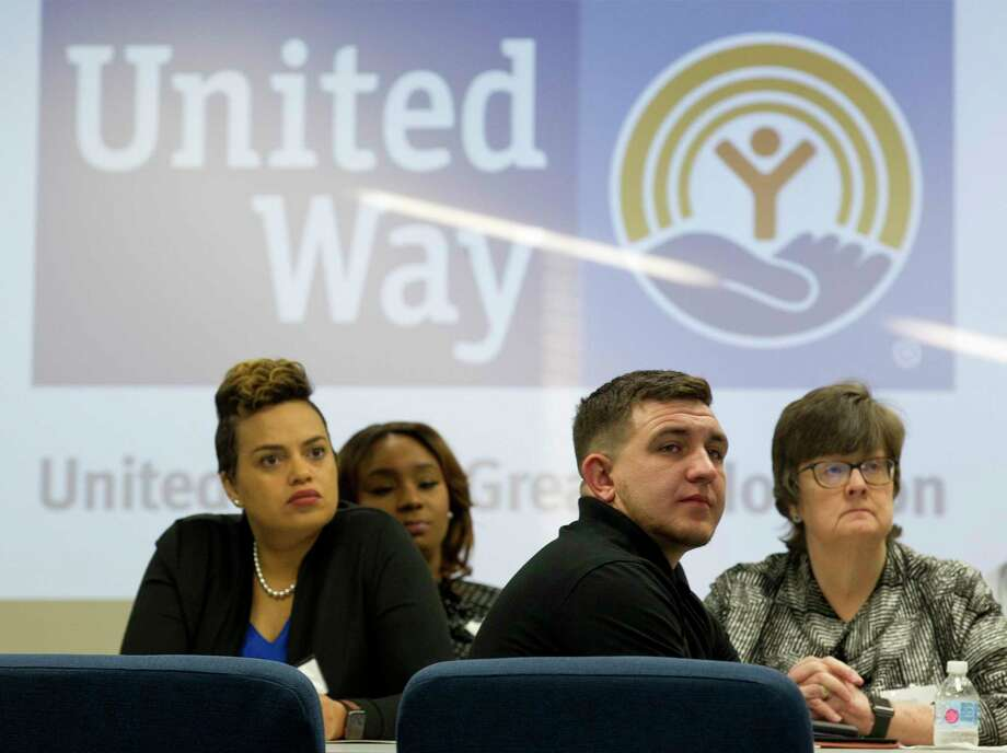 United Way of Greater Houston centers are about to be filled with thousands of pairs of socks and underwear for the community collection drive titled Project Undercover. Centers around the area are collecting socks and underwear from July 8 to Aug. 2 to distribute to kids entering kindergarten to 12th grade at the start of the 2019-20 school year. Here, attendees listen to speakers as the United Way of Montgomery County hosts an open house for the organization's new THRIVE center, Friday, March 22, 2019, in The Woodlands. Photo: Jason Fochtman, Houston Chronicle / Staff Photographer / © 2019 Houston Chronicle
