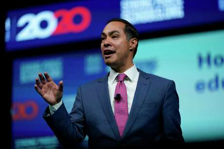 Democratic presidential candidate and former Housing Sec. Julian Castro speaks during the National Education Association Strong Public Schools Presidential Forum Friday, July 5, 2019, in Houston. (AP Photo/David J. Phillip)