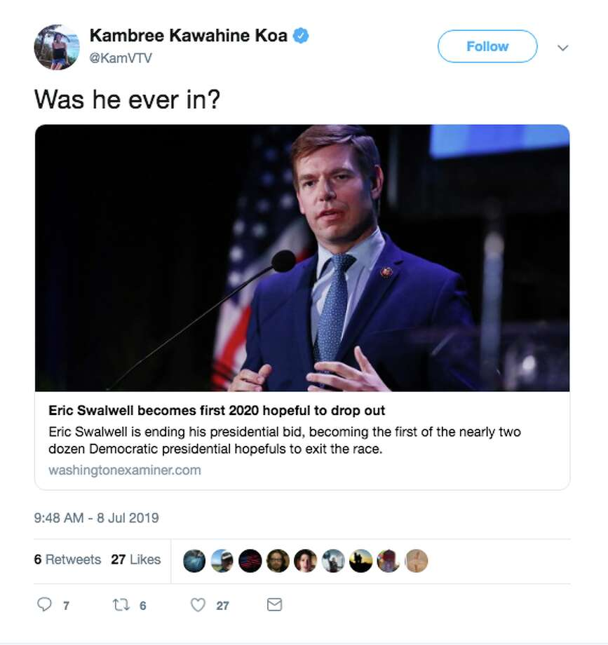 Twitter reacts to news Rep. Eric Swalwell would be dropping out of the presidential race. Photo: Screenshot / Twitter