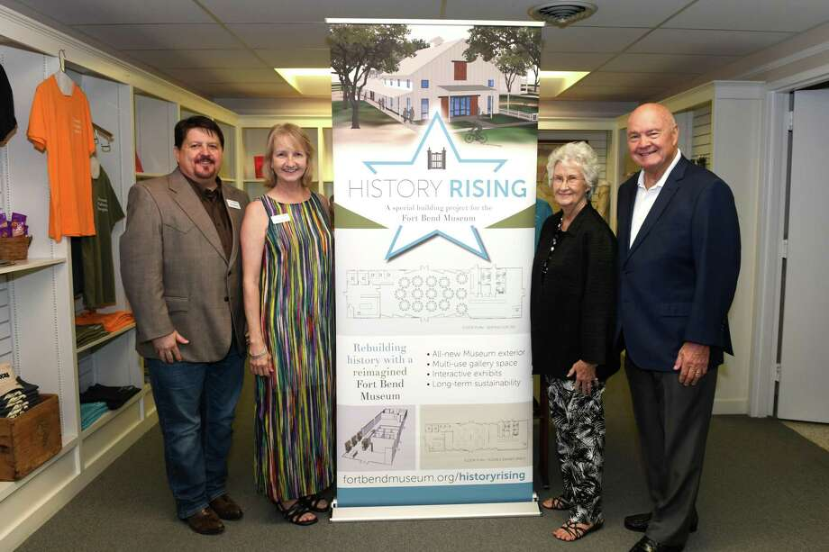 Fort Bend History Association Board of Trustees President Tim Kaminski, Executive Director Claire Rogers plus hosts Pat and Bob Hebert (left-right) pose at the History Rising Community Leaders Reception in Richmond on Tuesday, July 2. Photo: Craig Moseley, Houston Chronicle / Staff Photographer / ©2019 Houston Chronicle