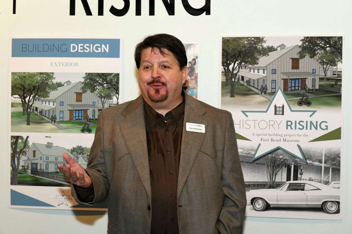 Fort Bend History Association Board of Trustees President Tim Kaminski, describes project plans during the History Rising Community Leaders Reception in Richmond on Tuesday, July 2.