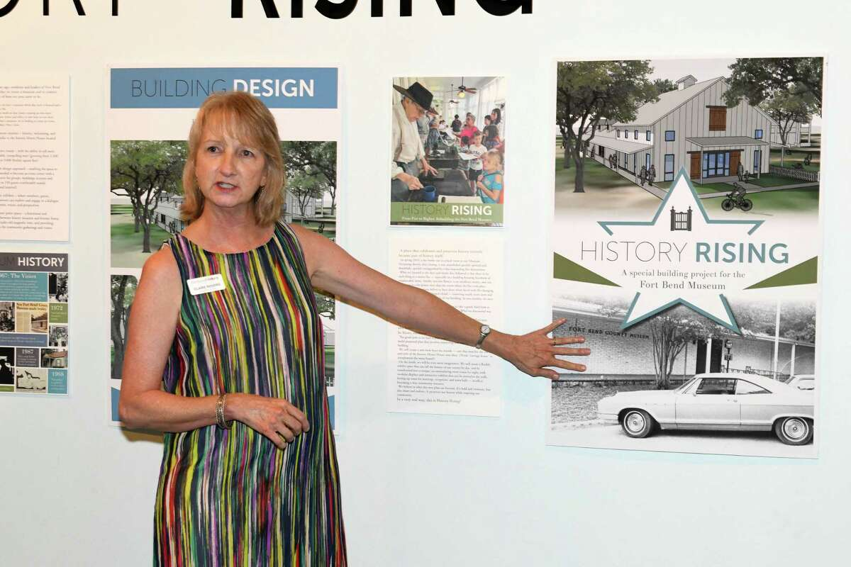 Ft. Bend History Association Executive Director Claire Rogers describes project plans during the History Rising Community Leaders Reception in Richmond on Tuesday, July 2.