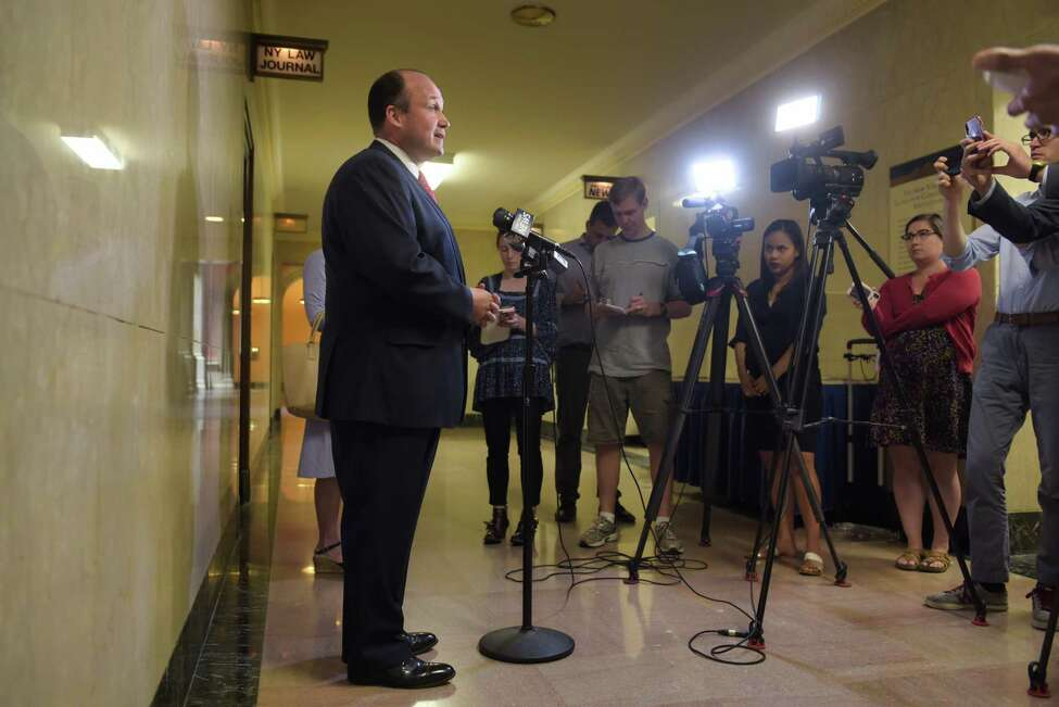 New York Republican Chairman Nick Langworthy talks to members of the media at the Capitol on Monday, July 8, 2019, in Albany, N.Y. Langworthy held the press conference to condemn Governor Andrew Cuomo's appointment of the State Democrat Party leader to the commission responsible for setting the terms of the recently-passed taxpayer-funded campaign finance system. (Paul Buckowski/Times Union)
