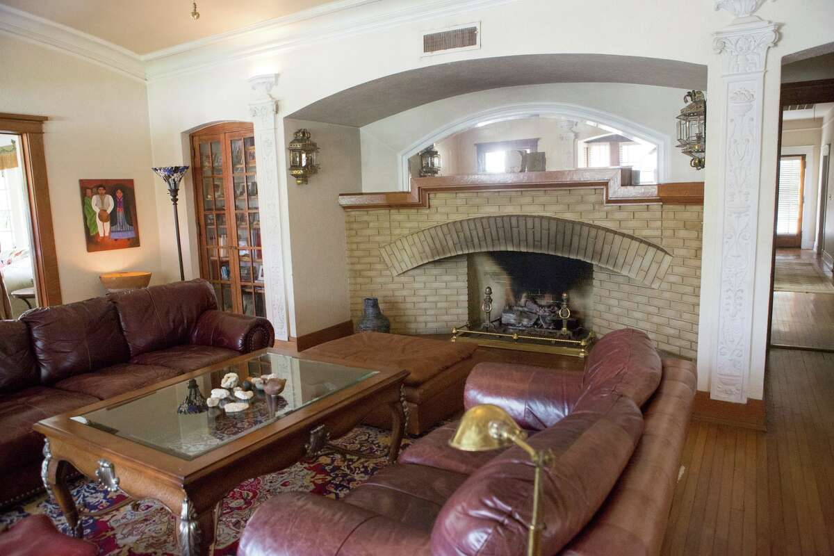 The massive fireplace with multiple recesses in the main living room of the home shows the influence of architect Frank Lloyd Wright, whom George Willis worked with for several years before coming to San Antonio.