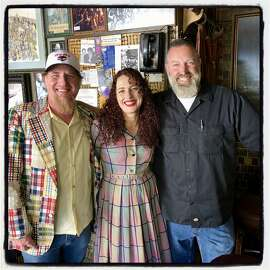 Kevin Hunsanger (left) with his wife, Alia Volz, and SF Museum of Cultural History co-founder Adam Bergeron at Vesuvio's. June 30, 2019.