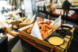 Tender, Love and Chicken features chicken strips with a wide variety of dipping sauces.
