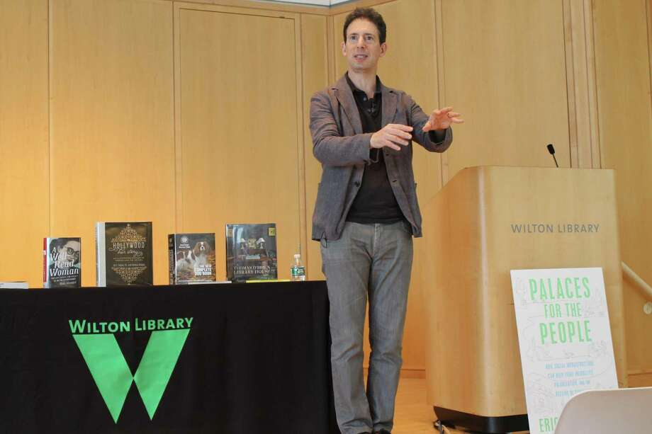 Author Eric Klinenberg recently spoke at Wilton Library's 124th annual meeting based on his book, Palaces for the People. Photo: Janet Crystal / Wilton Library / Wilton Bulletin Contributed