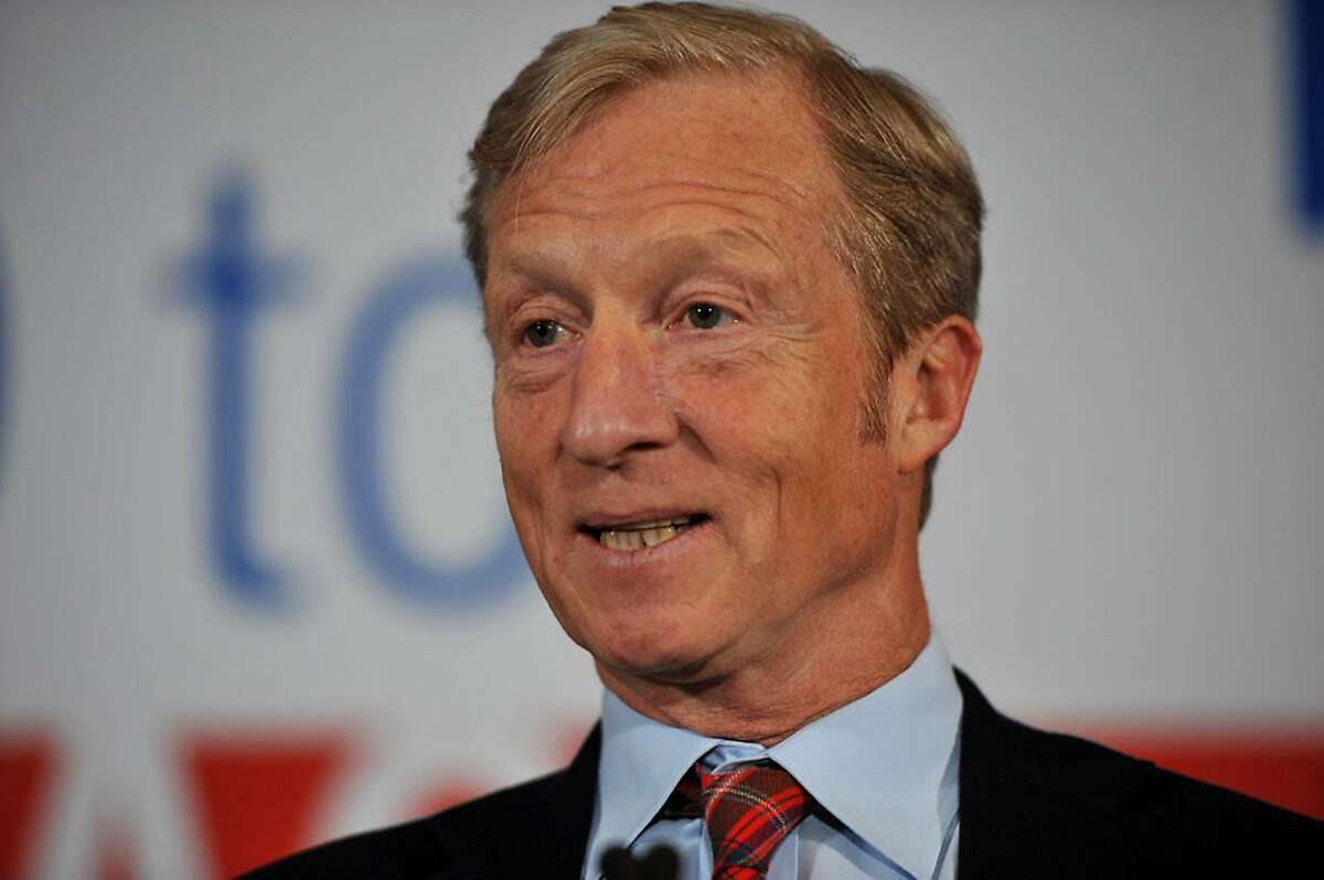 Billionaire Activist Tom Steyer speaks to supporters on January 9, 2019 in Des Moines, Iowa. Steyer announced that he would not run for president in 2020, and would instead concentrate his efforts on the possibility of impeaching President Trump. (Steve Pope/Getty Images/TNS) *FOR USE WITH THIS STORY ONLY*