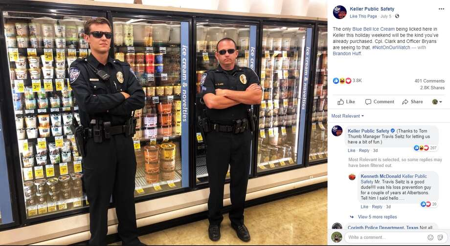 Kelley Public Safety posted a photo to Facebook of two of its officers guarding the ice cream aisle in a local supermarket Friday, making sure people don't try to copy a now-viral video of a girl licking Blue Bell ice cream. Photo: Facebook: Keller Public Safety