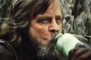 "Luke Skywalker (Mark Hamill) drinks Thala-Siren milk in 2017's ""The Last Jedi."""