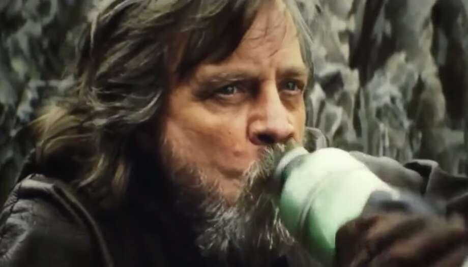 "Luke Skywalker (Mark Hamill) drinks Thala-Siren milk in 2017's ""The Last Jedi."" Photo: Disney / LucasFilm"