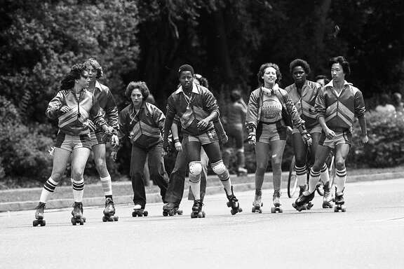 Aug. 10, 1980: The Golden Gate Park skate patrol rolls through the park.