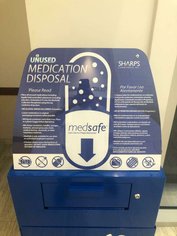 A MedSafe receptacle where people can anonymously dispose of unused prescription medicine is now available at the Conroe Police Department station's lobby. Photo: Courtesy Of The Conroe Police Department