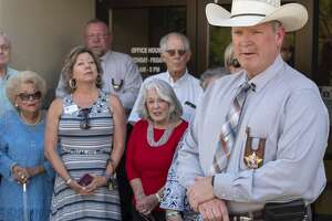 Midland County Sheriff Chief Deputy Rory McKinney announces his intent to run for sheriff 07/08/19 outside the Sheriff Office. Tim Fischer/Reporter-Telegram