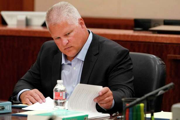 David Temple is shown during his murder trial in the 178th District Court Monday, July 8, 2019, in Houston. Temple is accused of killing his wife, Belinda Temple, in January 1999.