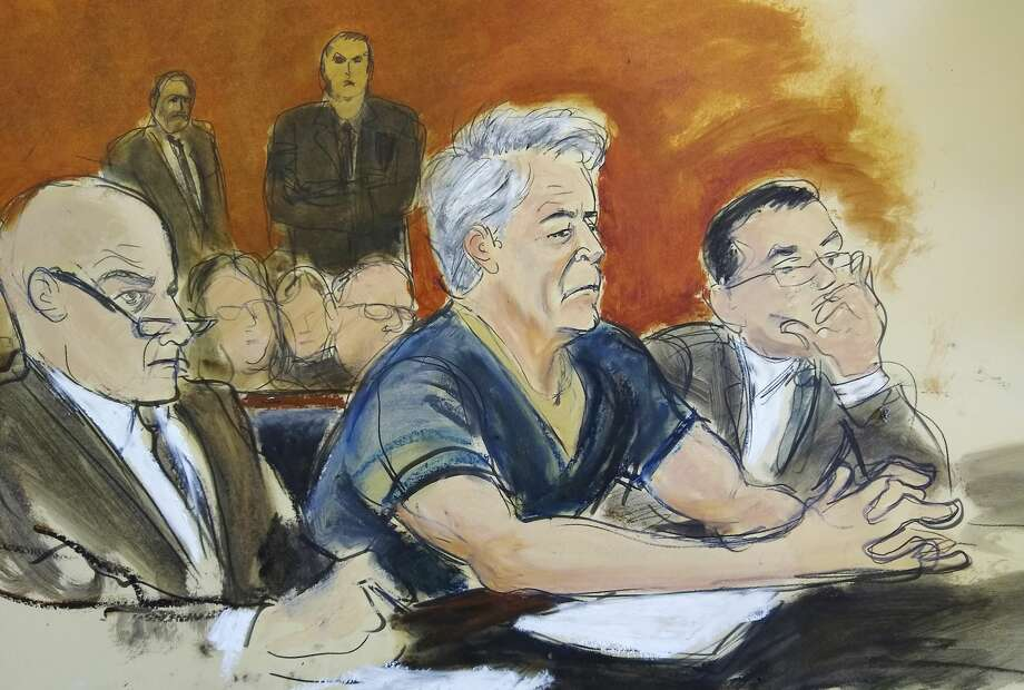 In this courtroom artist's sketch, defendant Jeffrey Epstein, center, sits with attorneys Martin Weinberg, left, and Marc Fernich during his arraignment in New York federal court, Monday, July 8, 2019. Epstein pleaded not guilty to federal sex trafficking charges. The 66-year-old is accused of creating and maintaining a network that allowed him to sexually exploit and abuse dozens of underage girls from 2002 to 2005. (Elizabeth Williams via AP) Photo: Elizabeth Williams/AP