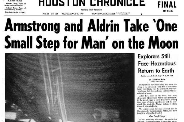 Houston Chronicle front page Vol. 68 No. 281 Monday, July 21, 1969 Houston, Texas. Morning Edition