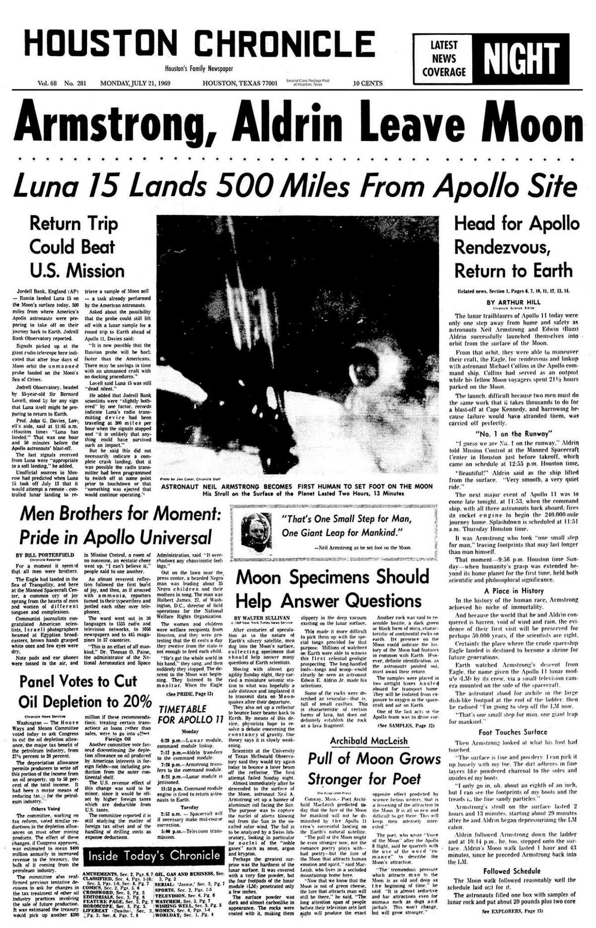 Houston Chronicle front page Monday, July 21, 1969. Apollo 11 returning to Earth.