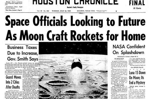 Houston Chronicle front page morning edition on July 22, 1969 with the Apollo 11 update. Astronauts headed home.