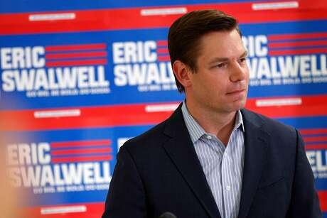 California Rep. Eric Swalwell answers questions from the press after he announced that he is ending his bid for the 2020 Presidential race and will seek a fifth term in the House during a press conference at his campaign headquarters at the International Brotherhood of Electrical Workers Union Hall in Dublin, Calif., on Monday, July 8, 2019.