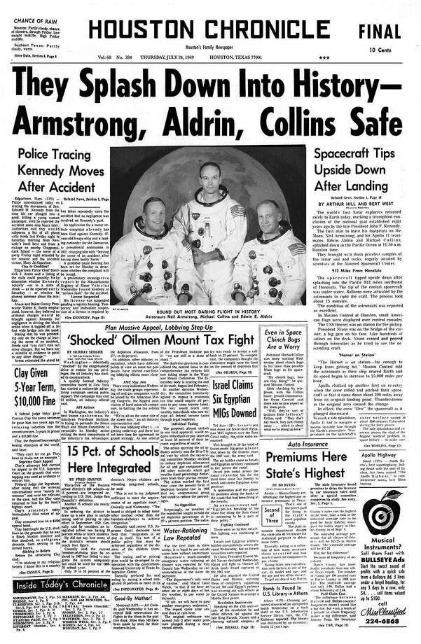 Houston Chronicle front page on Thursday July 24, 1969, Evening Edition. Armstrong, Aldrin and Collins are back and safe.