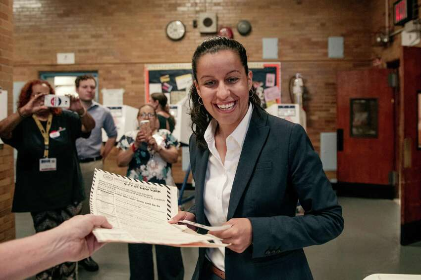 Public defender Tiffany Caban, a candidate for Queens district attorney, votes at P.S. 122 on the day of the borough's Democratic primary election, June 25, 2019 in the Astoria neighborhood of the Queens borough of New York City. (Photo by Scott Heins/Getty Images)