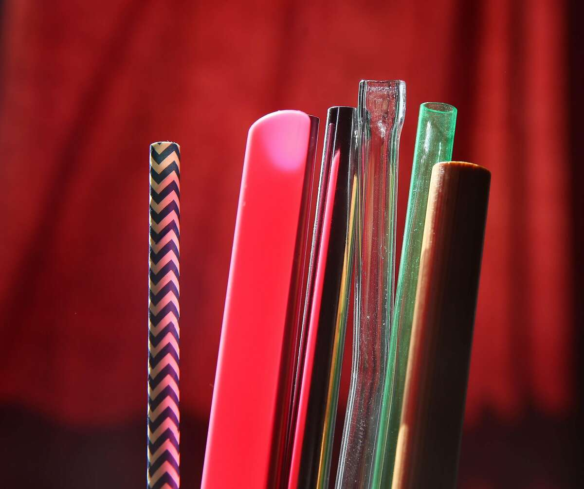 Straws made of glass, acrylic, silicone, bamboo, steel, aluminum and paper, which are either reusable or compostable, are seen at the Steelys Drinkware warehouse on Wednesday, July 3, 2019 in San Francisco, Calif.