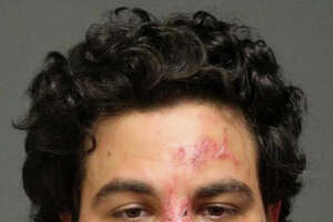 A mugshot of John Rodas from 2015 after he was arrested for second-degree threatening and disorderly conduct. He turned up in Ridgefield Sunday morning — naked, coming out of the woods near Route 7, and hoping into the bed of a pickup truck. He eventually jumped from the truck as it was moving and sustained life-threatening head injuries.