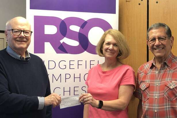 From left to right: Joel Third, president of Rotary Club of Ridgefield; Laurie Kenagy, executive director of the Ridgefield Symphony Orchestra (RSO); Rich Vazzana, president of the RSO Board of Directors.