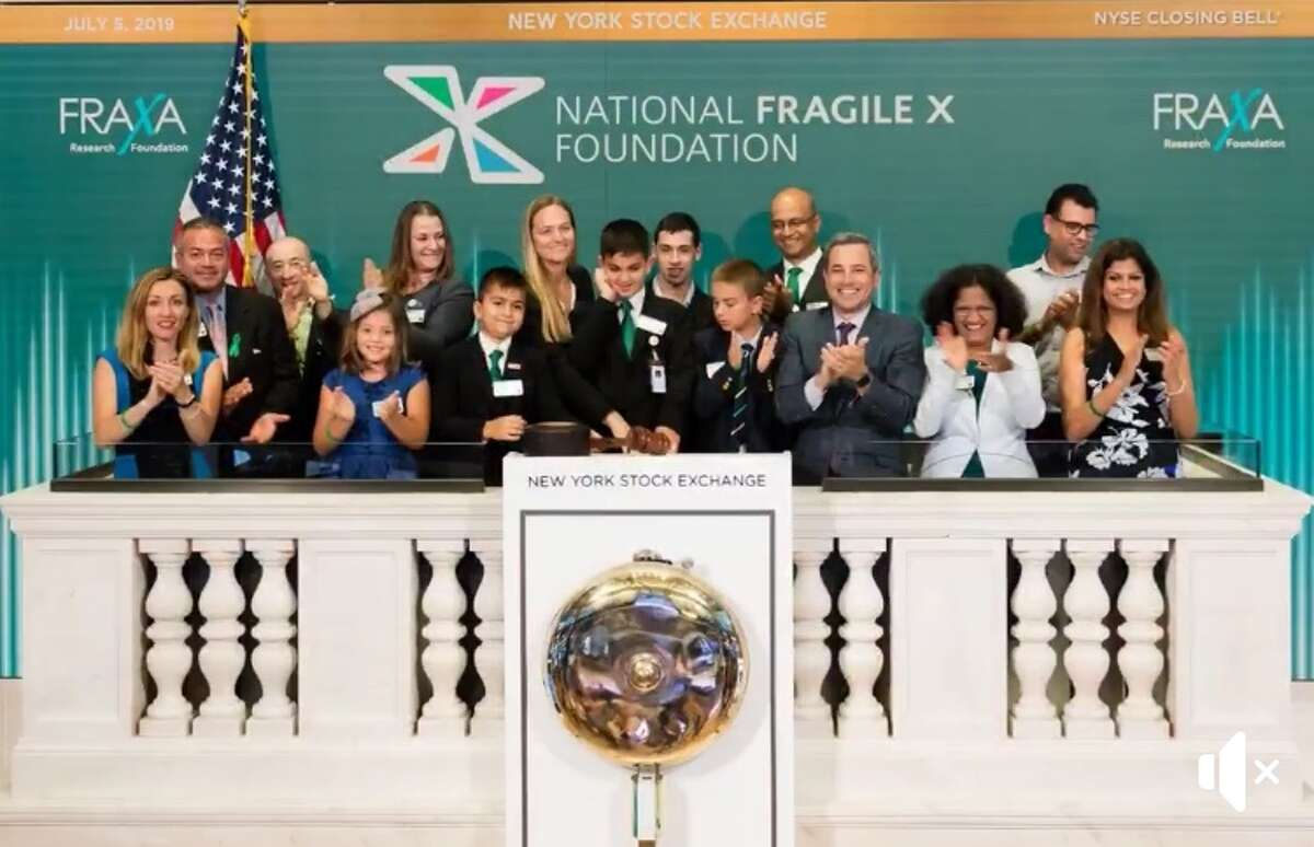 Ridgefield resident Jordan Sarup at the New York Stock Exchange.