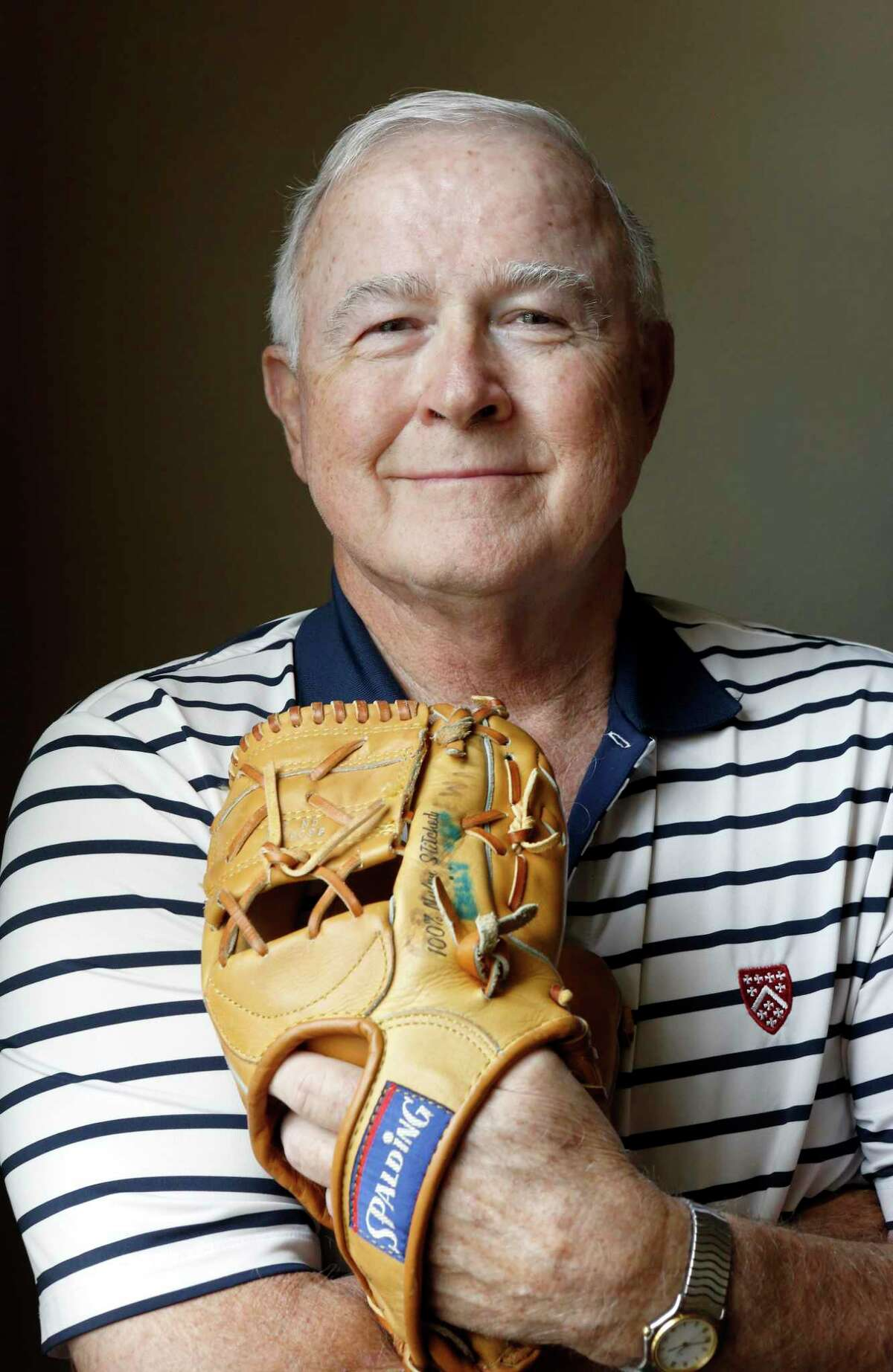Former Major League Baseball player Billy Grabarkewitz, with a baseball glove he played with, at his home in Colleyville, Texas on Friday, June 14, 2019. Grabarkewitz looks back at the 1970 All-Star Game, which amazingly included three players from San Antonio. (photo by Lara Solt )
