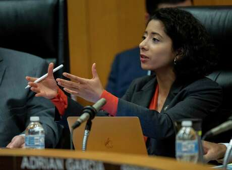 Harris County judge Lina Hidalgo speaks during commissioner's court at the the Harris County Administration Building Tuesday, June 4, 2019, in Houston.