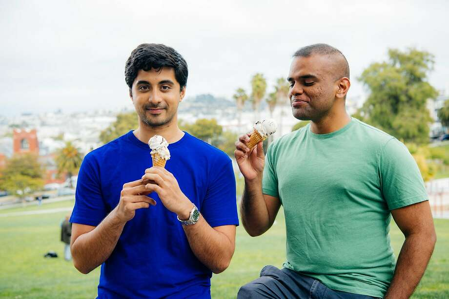 Ryan Pandya (left) and Perumal Gandhi enjoy ice cream. They're vegans and founders of Perfect Day, an Emeryville company that creates dairy proteins via fermentation. Photo: Perfect Day