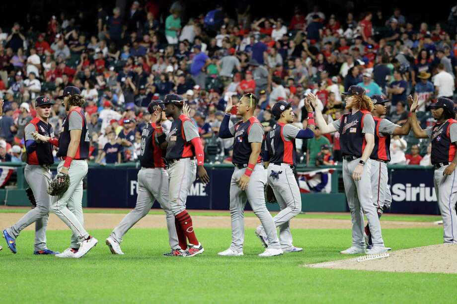 The National League players react the MLB All-Star Futures baseball game, Sunday, July 7, 2019, in Cleveland. The 90th MLB baseball All-Star Game will be played Tuesday. The game against the American League ended 2-2. (AP Photo/Darron Cummings) Photo: Darron Cummings / Copyright 2019 The Associated Press. All rights reserved.