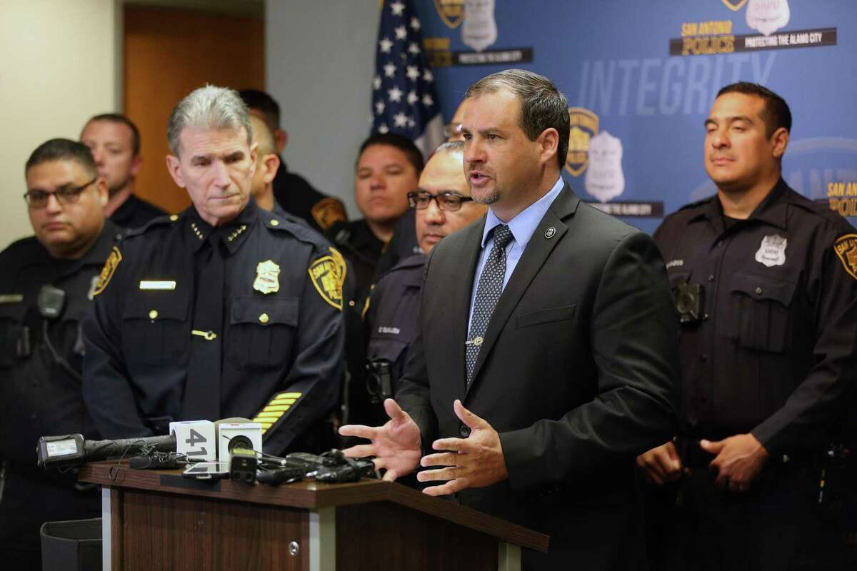 Mike Waddel, FBI Assistant Special Agent in Charge, speaks Tuesday, April 23, 2019 at a press conference in the public safety headquarters about free locks the San Antonio police department will be giving away through its SAFFE offices.