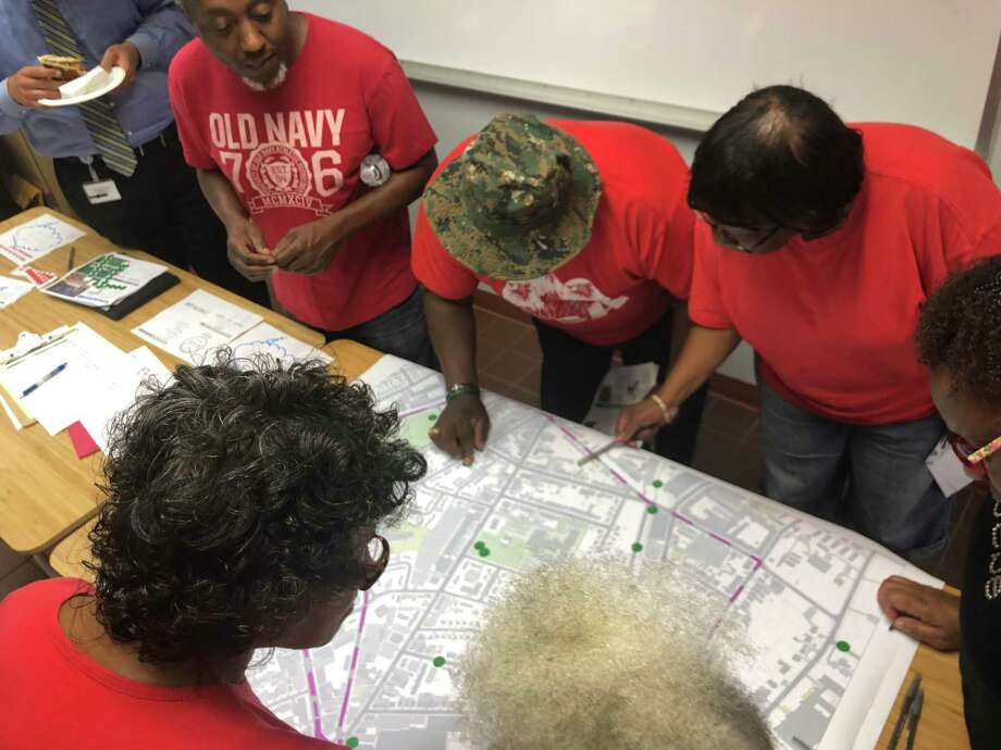 Residents of New Haven's Dixwell neighborhood met July 8, 2019, at the Charles Street police substation to discuss areas where streets need to be made safer, as part of the city Department of Transportation, Traffic and Parking's Safe Routes for All project. Photo: Ed Stannard / Hearst Connecticut Media